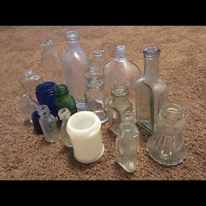 vintage antique glass medicine bottles lot
